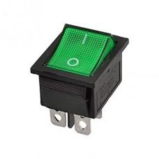 Rocker Switch DPST 250V/15A (Green)