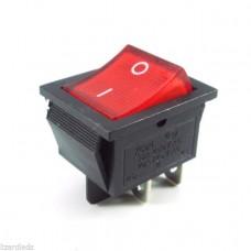 Rocker Switch DPST 250V/15A (Red)